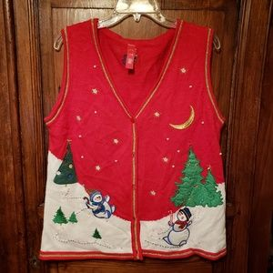 Ugly Christmas Sweater Vest Red Snowmen Size L